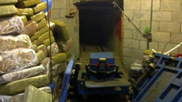This image provided by the San Diego Tunnel Task Force shows the entrance to a cross-border tunnel in San Diego on Tuesday Nov. 29, 2011, the latest in a spate of secret passages found to smuggle drugs from Mexico.