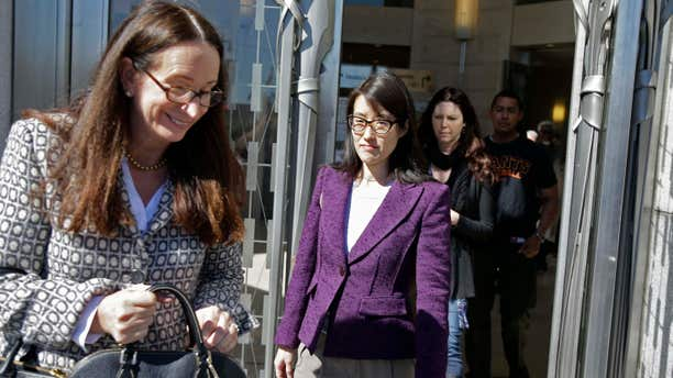 Feb. 24, 2015: Ellen Pao, center, with her attorney, Therese Lawless, left, leaves the Civic Center Courthouse during a lunch break in her trial.