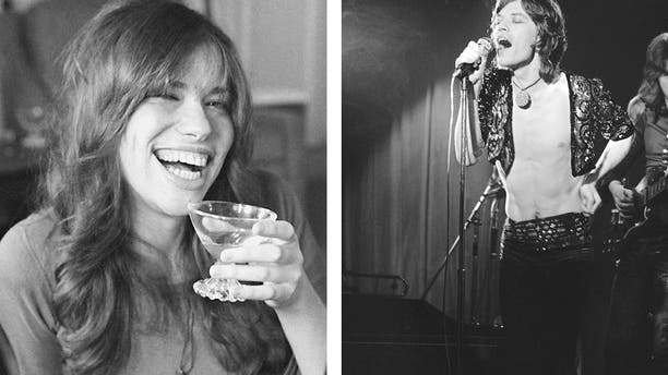 """It was revealed Wednesday Aug. 22, 2018, that a lost Mick Jagger, right, duet with Carly Simon, left, has been found more than 45-years after it was first recorded apparently in 1972, with Jagger and Simon seemingly sitting together at a piano and singing a slow love ballad thought to be named """"Fragile."""""""