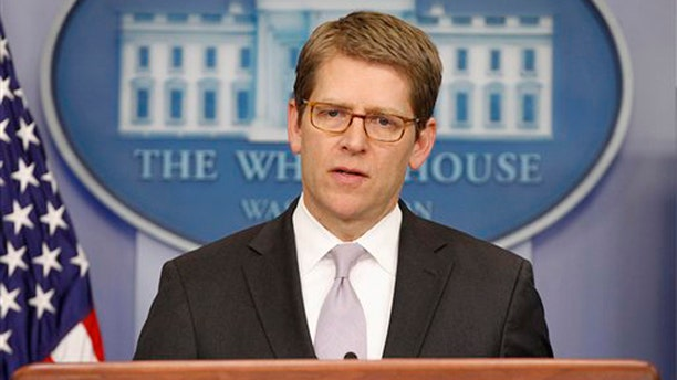 March 2, 2012: White House Press Secretary Jay Carney speaks during his daily news briefing at the White House in Washington.