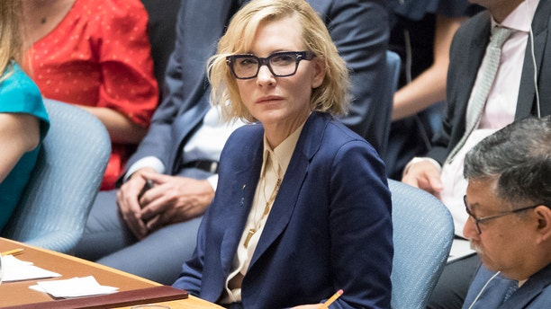 United Nations High Commissioner for Refugees Goodwill Ambassador Cate Blanchett speaks during a Security Council meeting on the situation in Myanmar, Tuesday, Aug. 28, 2018 at United Nations headquarters.