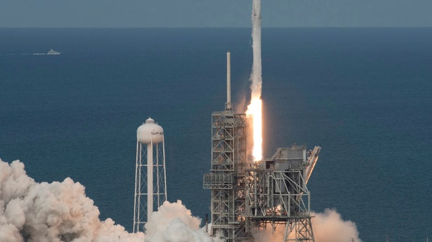In this photo provided by NASA, the SpaceX Falcon 9 rocket, with the Dragon spacecraft onboard, launches from pad 39A at NASA's Kennedy Space Center in Cape Canaveral, Fla, Saturday, June 3, 2017.