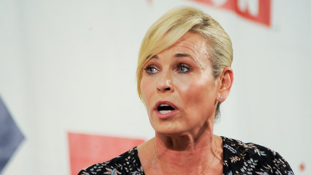"""Netflix show host Chelsea Handler talks on stage at Politicon, """"the unconventional political convention"""", at the Pasadena Convention Center in Pasadena, California, U.S., July 29, 2017.  REUTERS/Andrew Cullen - RC170D365590"""