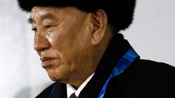 Kim Yong Chol watches the closing ceremony of the 2018 Winter Olympics in Pyeongchang, South Korea.