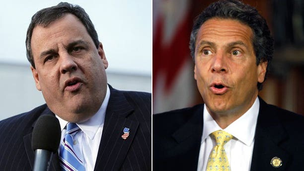 New Jersey Gov. Chris Christie, left, and New York Gov. Andrew Cuomo, right.