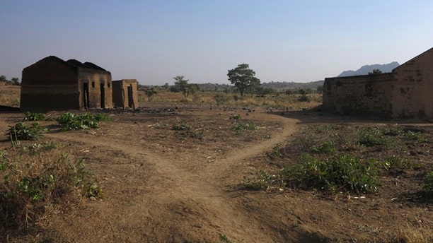 The torched remains of a Baptist Church are seen in Mabass, northern Cameroon near the Nigerian border.
