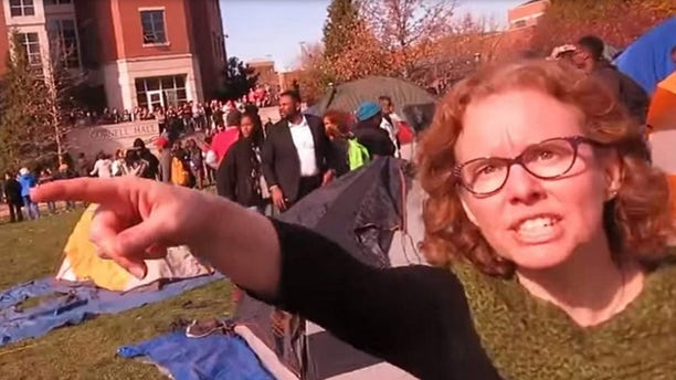 Professor Melissa Click was caught on video trying to throw a reporter off of public property. (Screengrab)