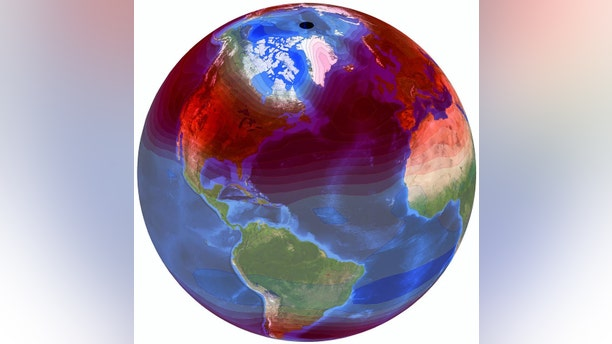 """Seasonal temperature variations and trends are visualized and depicted on NASA's """"Blue Marble"""" image. Credit: Lawrence Livermore National Laboratory"""