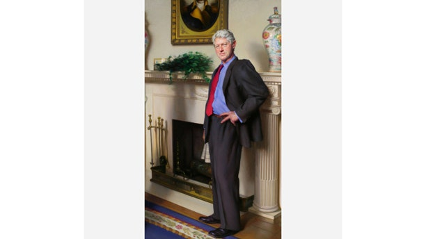 Shown here is the portrait of President Clinton painted by Nelson Shanks.