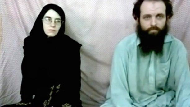 Caitlan Coleman and her husband, Canadian Joshua Boyle in a militant video given to the family.