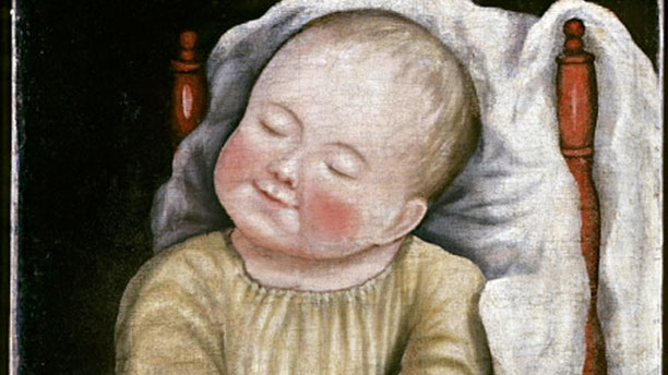 """Painted by an unidentified artist about 1810 to 1830, """"Baby in Red Chair"""" is one of the earliest paintings to enter the collection."""