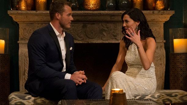 """""""Bachelorette"""" Becca Kufrin, right, and contestant Colton Underwood on Season 14 of the dating series."""
