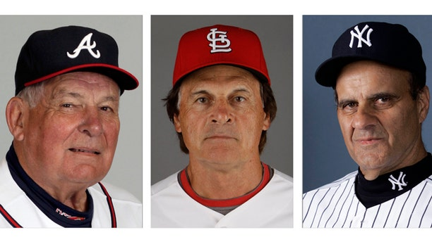 From left are Atlanta Braves manager Bobby Cox in 2010, St. Louis Cardinals manager Tony La Russa in 2011 and New York Yankees manager Joe Torre in 2007.