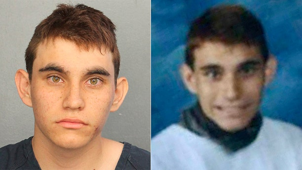 Nikolas Cruz was booked into Broward County Jail on 17 counts of premeditated murder. On the right is his yearbook picture.