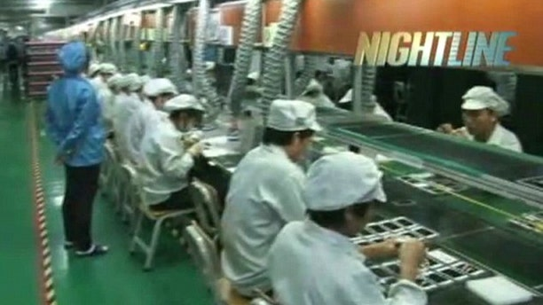 """Feb. 20, 2012: A """"Nightline"""" video offered the world its first glimpse into Apple supplier Foxconn's massive Chinese factories, where worker conditions have drawn the world's attention and scorn."""