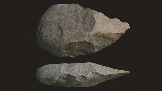 Examples of hand axes found in Kenya, which indicate that early humans were using stone hand axes as far back as 1.8 million years ago.