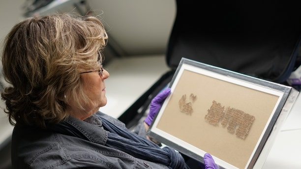 Israel Antiquities Authority conservator Tatiana Treiger holding a fragment of the Tohorot scroll, on public display for the first time at the Denver Museum of Nature and Science. (Photo: Yoli Shwartz, Israel Antiquities Authority)