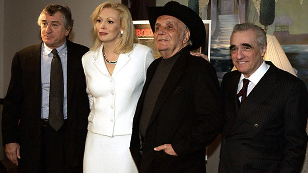 Robert De Niro, actor; Cathy Moriarty, actress; Jake LaMotta, former boxer; and Martin Scorsese, director in 2005. (AP)