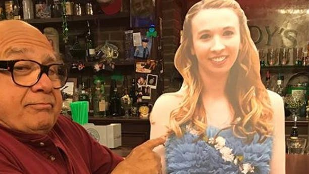 """The star of """"It's Always Sunny in Philadelphia"""" Danny DeVito took a cardboard cutout of a Pennsylvania high school student to the set of the show."""