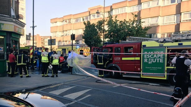 Tower Hamlets police were at the scene for two suspected acid attacks in east London on Tuesday.