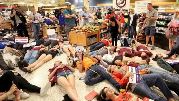 The organization staged a die-in at Publix Supermarket last month.