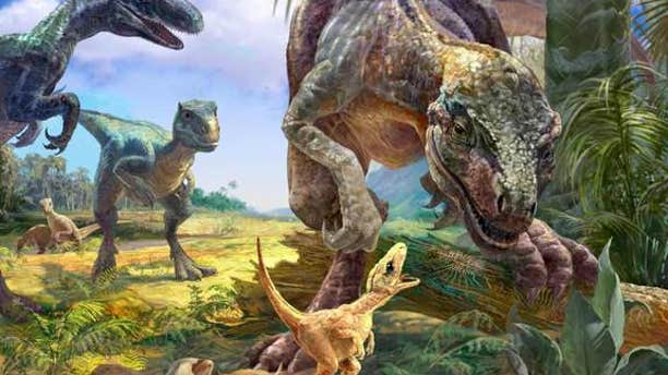 Researchers discovered the nest and embryo fragments from a primitive theropod Torvosaurus. Here, an artist interpretation of the theropod overlooking its nest.