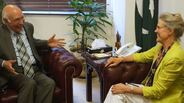Sept. 11, 2013: Pakistan's adviser to the national security and foreign affairs Sartaj Aziz, left, meets Robin Raphel, U.S. Special Representative for Afghanistan and Pakistan
