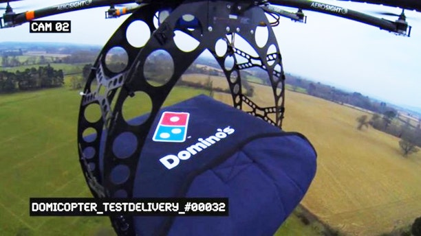 The Domicopter, an octocopter drones that deliver a hot, delicious pizza to your doorstep.