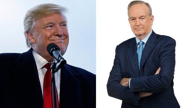 Donald Trump, left, will sit down with Bill O'Reilly for an interview that will air Feb. 5th on FOX.
