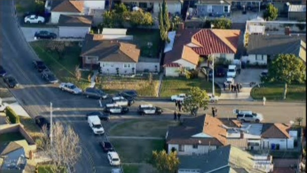 The scene at the home in Downey.