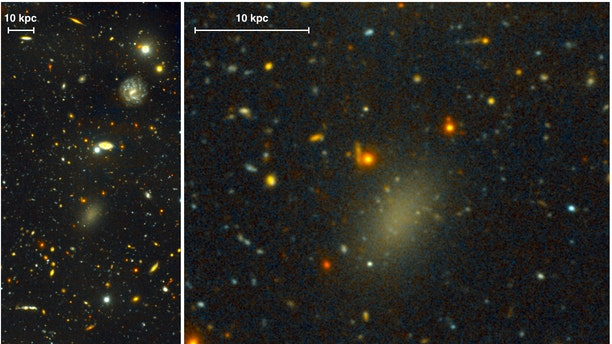 Dragonfly 44. The image on the left is a wide view of the galaxy taken with the Gemini North telescope using the Gemini Multi-Object Spectrograph (GMOS). The close-up on the right is from the same very deep image, revealing the large, elongated galaxy and halo of spherical clusters of stars around the galaxy's core, similar to the halo that surrounds our Milky Way galaxy.