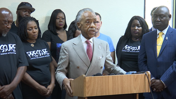 """Reverend Al Sharpton attends a """"Justice for Markeis"""" rally in Clearwater with (left to right) Markeis McGlockton's parents, Trayvon Martin's parents and attorneys representing the McGlockton family, Michele Rayner and Benjamin Crump, among others."""
