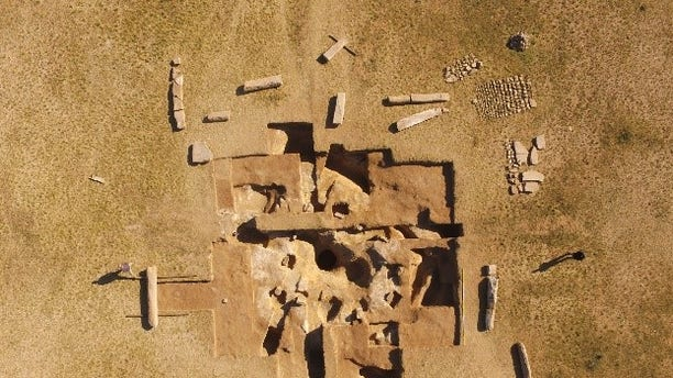 Drone footage show 14 mysterious stone pillars unearthed in the Mongolian steppe that provide clues to ancient power struggles. Segments of the inscriptions and sarcophagus excavated from the hole at the center of the ruins can be seen.