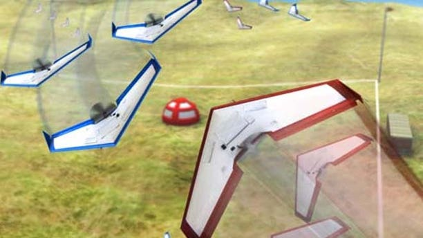 Shown here is an image depicting the Swarm vs. Swarm Grand Challenge Competition.