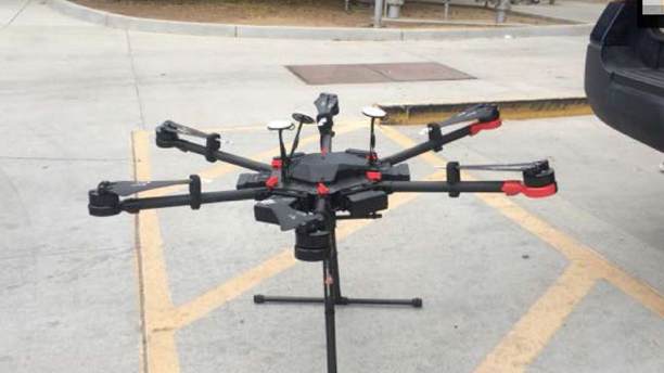 The drone used during the incident was recovered near a bush.