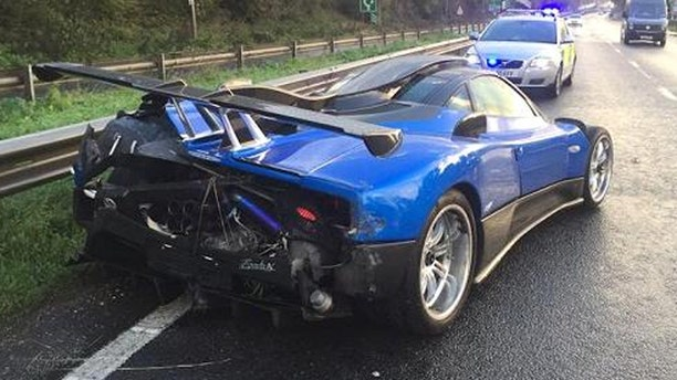A rare Italian supercar called a Pagani Zonda crashed into a road barrier in the south of England.