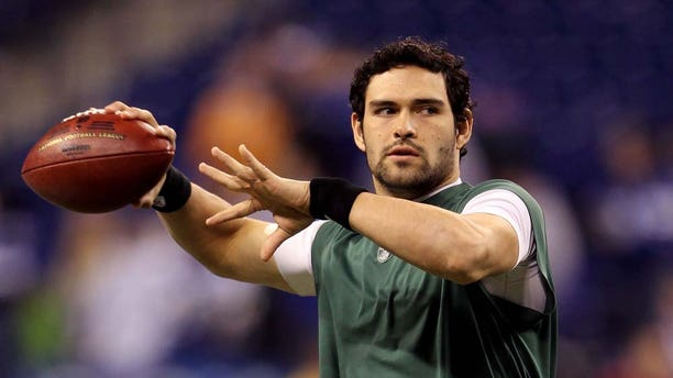INDIANAPOLIS, IN - JANUARY 08:  Quarterback Mark Sanchez #6 of the New York Jets warms up against the Indianapolis Colts during their 2011 AFC wild card playoff game at Lucas Oil Stadium on January 8, 2011 in Indianapolis, Indiana.  (Photo by Andy Lyons/Getty Images)