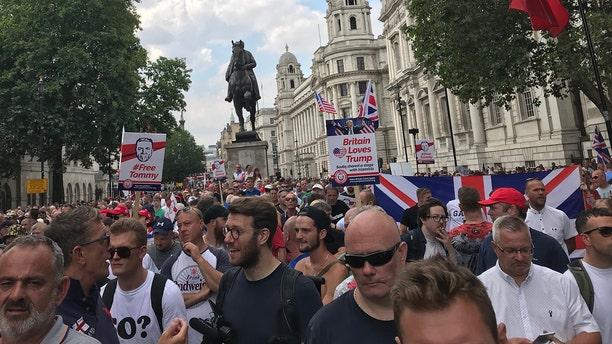 Marchers walked up to Trafalgar Square.