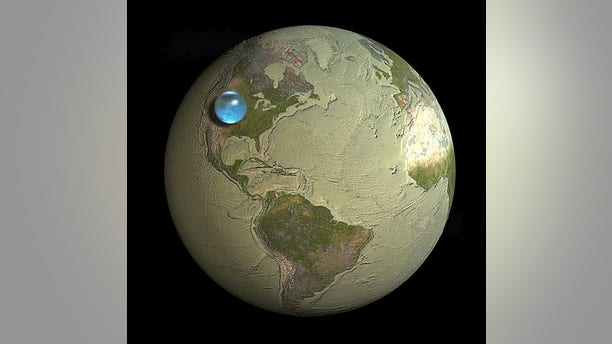 If all the world's water were to form a single drop, this is how big it would be: A sphere stretching from Salt Lake City, Utah to Topeka, Kansas.