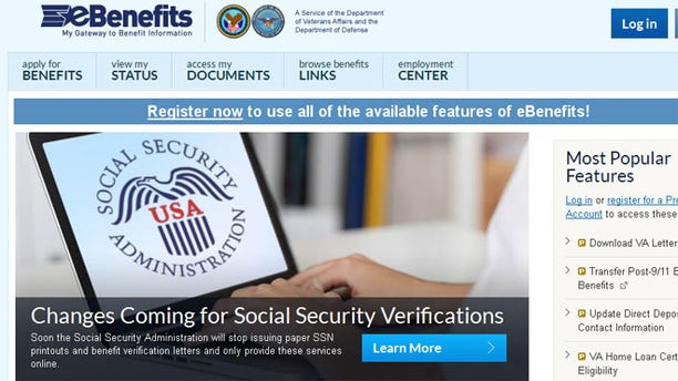 Shown here is a screenshot of the eBenefits website.