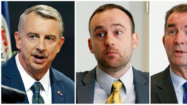 In this combination photo, Republican gubernatorial candidate, Ed Gillespie appears at a debate at the University of Virginia-Wise in Wise, Va., Oct. 9, 2016, left, Libertarian candidate for Virginia governor Cliff Hyra appears during an interview in Richmond, Va., on Sept. 22, 2017 and Democratic gubernatorial candidate, Lt. Gov. Ralph Northam appears during an interview in Richmond, Va., on Sept. 18, 2017. Virginia has the nation's only competitive governor's race this year and it could be an early referendum on President Donald Trump's popularity ahead of the 2018 midterm elections. (AP Photos/Steve Helber, File)