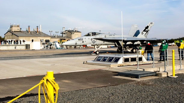 The Electromagnetic Aircraft Launch System launches its first F/A-18E Super Hornet on Saturday Dec. 18 at Naval Air Engineering Station Lakehurst, N.J.