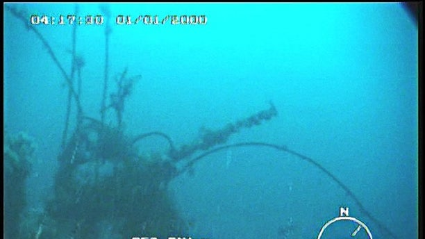 No signs of an explosion were discovered at the wreck site (Royal Navy/Icelandic Coastguard)
