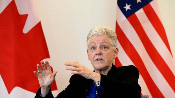 April 7, 2015: U.S. Environmental Protection Agency (EPA) Administrator Gina McCarthy speaks during a town hall meeting at the University of Ottawa in Ottawa.