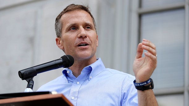 Missouri Gov. Eric Greitens speaks to supporters during a rally outside the state Capitol in Jefferson City, Mo. May 23, 2017.