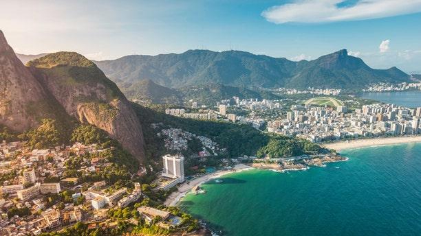 Aerial view of Ipanema Beach in Rio de Janeiro, Brazil - light leaks