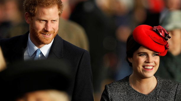 Prince Harry and Princess Eugenie arrive to attend the Christmas Day church service in Sandringham Britain, December 25, 2016. Eugenie will marry several months after her cousin Prince Harry.