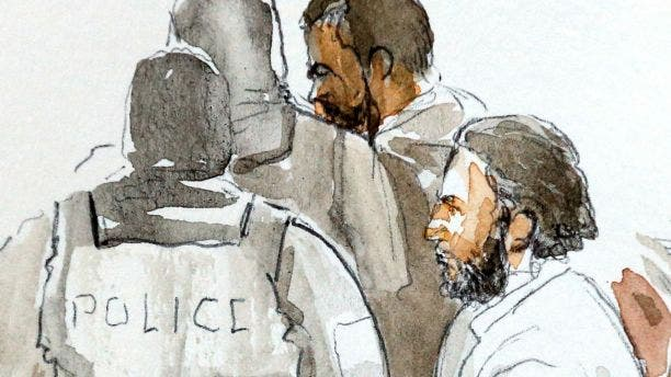 A court artist drawing shows Salah Abdeslam, one of the suspects in the 2015 Islamic State attacks in Paris, on Feb. 5.