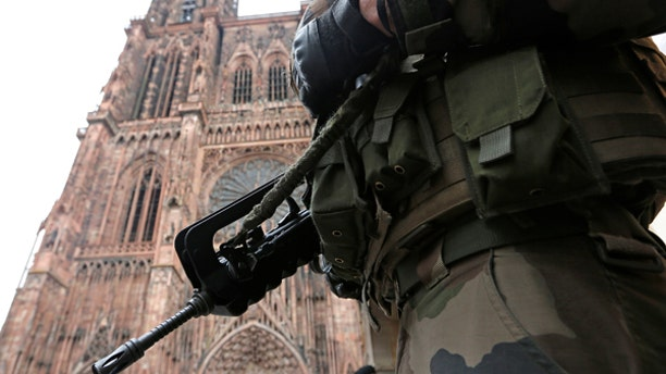 A French soldier stands guard near Strasbourg's cathedral in Strasbourg, France, November 21, 2016.