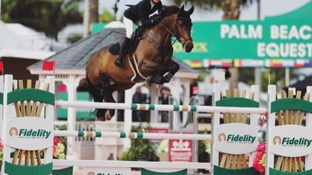 Eve Jobs is seen riding Charleville in Palm Beach, California.
